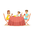 happy family having lunch outdoors mother father vector image vector image