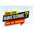 hiring recruitment join now design for banner post vector image