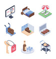 hotel service and room service isometric icons pa vector image