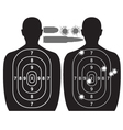human target bullet holes and cartridge case vector image
