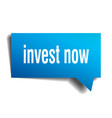 invest now blue 3d speech bubble vector image vector image