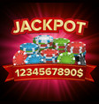 jackpot big win bright casino banner for vector image vector image
