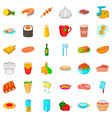 kitchen icons set cartoon style vector image vector image