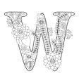 Letter W coloring book for adults vector image vector image