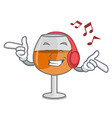 listening music cognac ballon glass mascot cartoon vector image