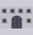 medieval castle wall with doors and barred windows vector image vector image