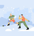 men doing winter sports playing hockey and riding vector image vector image