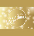 merry christmas hand lettering on gold background vector image vector image