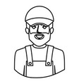 monochrome contour half body of bearded delivery vector image vector image
