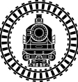 Old steam locomotive railway frame stencil vector image