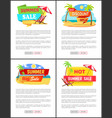 online summer sale web pages with sample text set vector image vector image