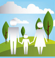 parents and son in the park family protection vector image vector image