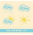 Pastel hand drawn doodle weather icons vector image