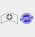 pixel medical cap icon and grunge child vector image vector image