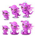 purple cartoon dragon of different ages vector image