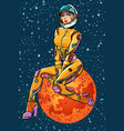 red planet mars sexy beautiful woman astronaut vector image vector image