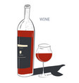 red wine bottle and glass tasting shop or bar vector image
