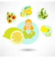 round card with food icons vector image vector image