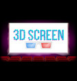 screen 3d movie cinema red seats blank vector image
