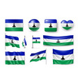 set lesotho flags banners banners symbols flat vector image vector image