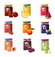 set of beautiful jars with a different type of jam vector image vector image