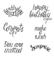 set of happy birthdays calligraphy phrases vector image