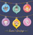set of six festive baubles with christmas vector image
