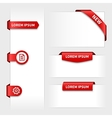 set red 3d stickers tabs vector image vector image