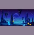 space background night alien fantasy landscape vector image