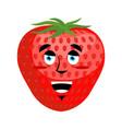 strawberry happy emoji red berry merryl emotion vector image vector image