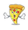 surprised pizza slice mascot cartoon vector image vector image