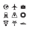 travel vacation icons set sig vector image