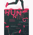 typographic running poster with runners vector image vector image