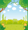 with green lines and trees in vector image