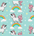 seamless pattern unicorns and rainbows vector image