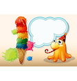 A monster celebrating beside the giant icecream vector image vector image