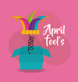 april fools day card box hat bells pink background vector image vector image