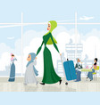 arab women at the airport vector image