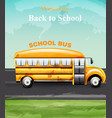 back to school watercolor card yellow bus vector image vector image