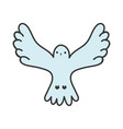 bird pigeon open wings white background vector image