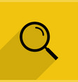 black magnifying glass with shadow in flat style vector image