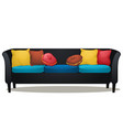 black sofa with colored soft pillows isolated on vector image vector image