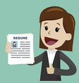 businesswoman or manager in the suit holding vector image vector image