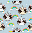cats unicorns and a rainbow unicorn cats vector image vector image