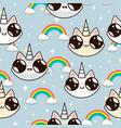 cats unicorns and a rainbow unicorn cats vector image vector image