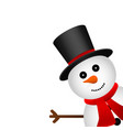 christmas snowman in hat isolated on white vector image vector image