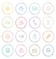 Collection colored atypical rounds thin line icons vector image vector image