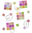 Colored background Squares calligraphic strokes vector image