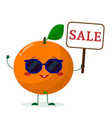 cute orange cartoon character in sunglasses keeps vector image vector image