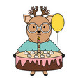 cute reindeer with sweet cake in party celebration vector image